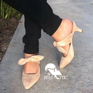 Shoes - Nude Vegan Suede Bow Strap Kitten Heel Mule Pumps